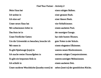 German - Find your partner activities (adjectives after ein-words)