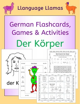 German Parts of the Body - Der Korper - flashcards, games and activities
