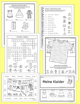 German Clothing - Kleidung - activities, games and puzzles