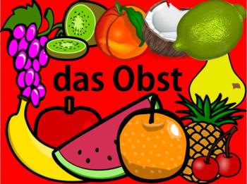 German Fruit Vocabulary - 30 sildes!