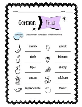 German Fruits Worksheet Packet