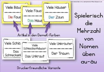 German Game- Lesespiel Mehrzahl: aus Au wird Äu