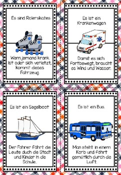 German Game- Lesespiel Transportmittel
