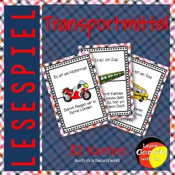 German Game- Lesespiel Transportmittel