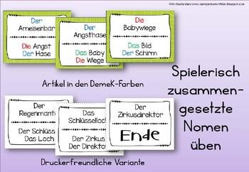 German Game- Lesespiel Zusammengesetzte Namenwörter