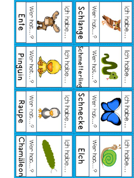 """German Game Vocabulary -Animals- """"Ich habe...Wer hat...? Tiere"""""""