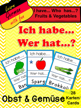 "German Game Vocabulary -Fruits&Vegetables- ""Ich habe...Wer hat...? Obst&Gemüse"""