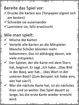"German Game Vocabulary -School- ""Ich habe...Wer hat...? Schule"""