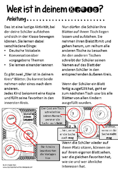 German Get To Know Activity- Wer ist in deinem Kreis? DaF-Unterricht
