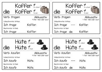 German Grammar - Accusative case - Task cards - German Language