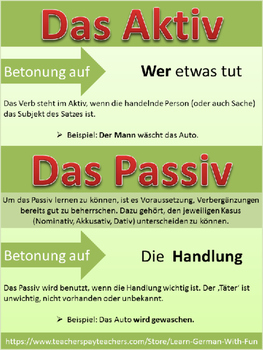 german grammar aktiv und passiv bungen regeln arbeitsbl tter poster. Black Bedroom Furniture Sets. Home Design Ideas