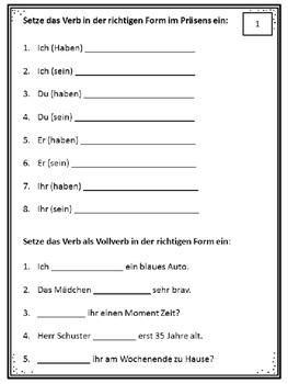 German Grammar - Haben und Sein - Übungen, Regeln, Arbeitsblätter, Poster