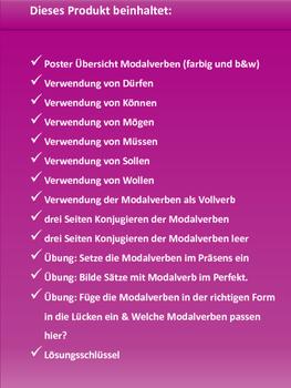 German Grammar - Modalverben - Übungen, Regeln, Arbeitsblätter, Poster