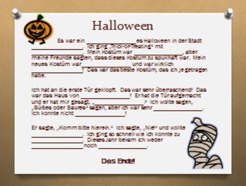 German Halloween Bingo Cards and Madlibs