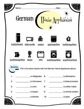 German Home Appliances Worksheet Packet