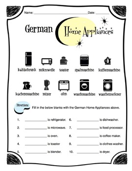German Home Appliances Worksheet Packet