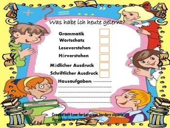 German Homework checklist Hausaufgaben checkliste