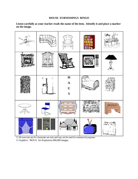 German House Furnishings Picture Bingo and Hidden Word Puzzle