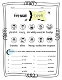 German Human Emotions Worksheet Packet