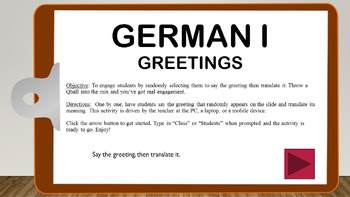 PPTM - German I: Greetings  (randomized activity)