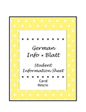 German Info * Blatt ~ Student Information Sheet