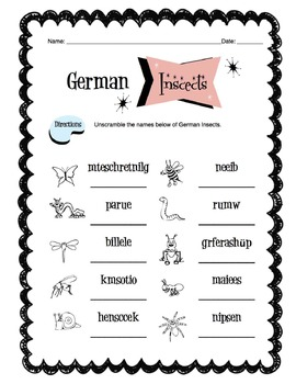 German Insects Worksheet Packet