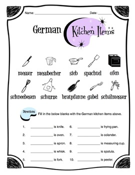 German Kitchen Items Worksheet Packet