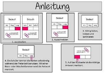 German- Klammerkarten Endungen von Adjektiven