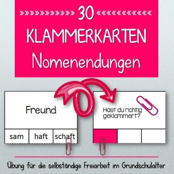 German- Klammerkarten Endungen von Nomen