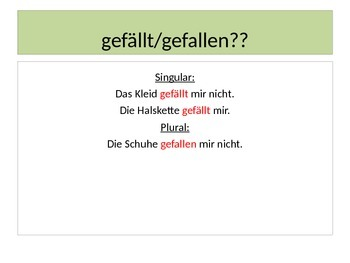 "German Lesson Plan Powerpoint: Verb ""Gefallen"" and dative pronouns"