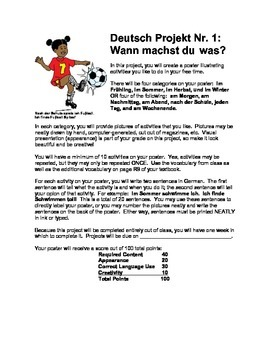 German Level 1 Poster Project Description - Free Time Activities