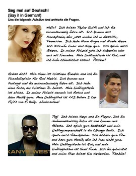 German Level 1 Reading Activity #2 (Taylor Swift, Cristiano Ronaldo, Kanye West)