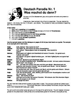 German Level 1 - Sample Skit and Presentation Guidelines