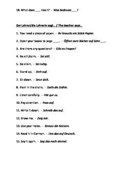 German Level 1 - Vocabulary List - Classroom Expressions ENGLISH/GERMAN