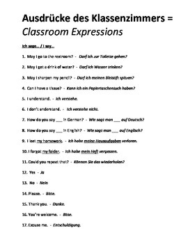 German Level 1 - Vocabulary List - Classroom Expressions ENGLISH/GERMAN