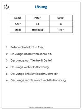 German Logic Puzzles name, age, town