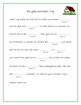 German Mad Lib-Style Activity: Das Haus