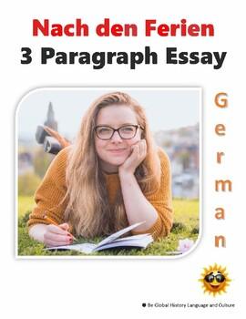 German: Meine Ferien- 3 Paragraphs Template -  Digital PDF or Printable