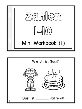 German Mini Book  Zahlen 1 bis 10