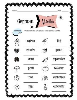 German Months Of The Year Worksheet Packet