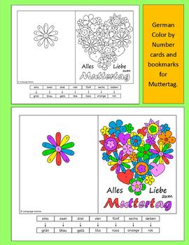German Mother's Day Muttertag Color by Number cards and bookmarks
