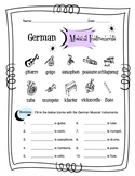 German Musical Instruments Worksheet Packet