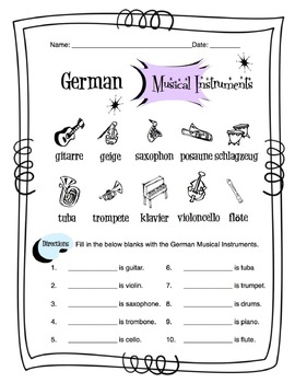 German Musical Instruments Worksheet Packet
