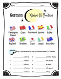 German Names of Countries Worksheet Packet