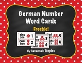 German Number Word Cards Freebie