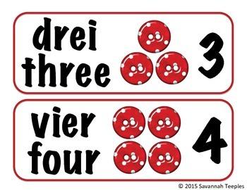 German Number Word Cards Freebie