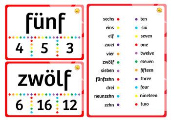 German Numbers Pack (Task / Flash / Word Wall Cards)