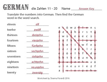 German Numbers Word Search - 1 to 10; Translate into German; Vocabulary