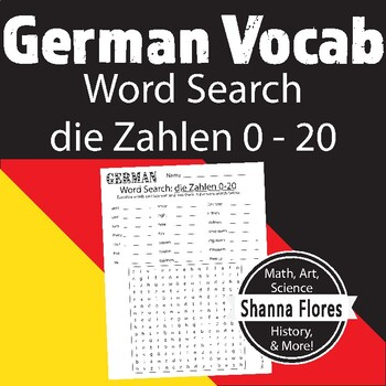 German Numbers Word Search - 1 to 10; Translate into Germa
