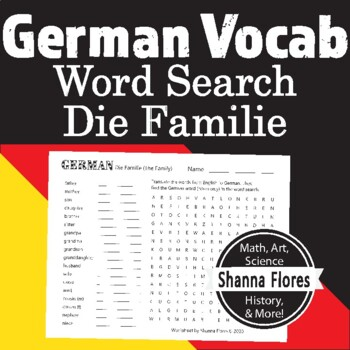 German Numbers Word Search - 11 to 20; Translate into German; Vocabulary